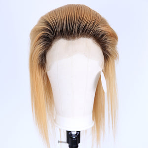 Peruvian Hair Blond With Brown Root Color  Fashion Full Lace Wig Straight
