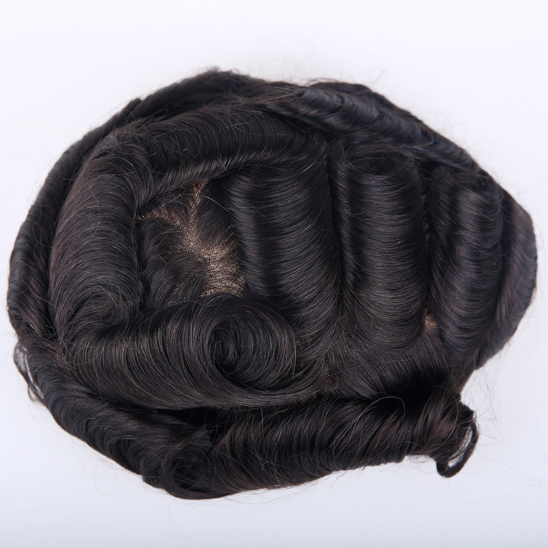 European Virgin Human Hair Natural Black French Lace 02 Base Man Toupee