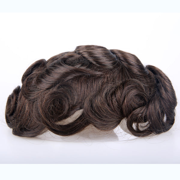 European Virgin Human Hair Dark Brown Los Angles Base Man Toupee
