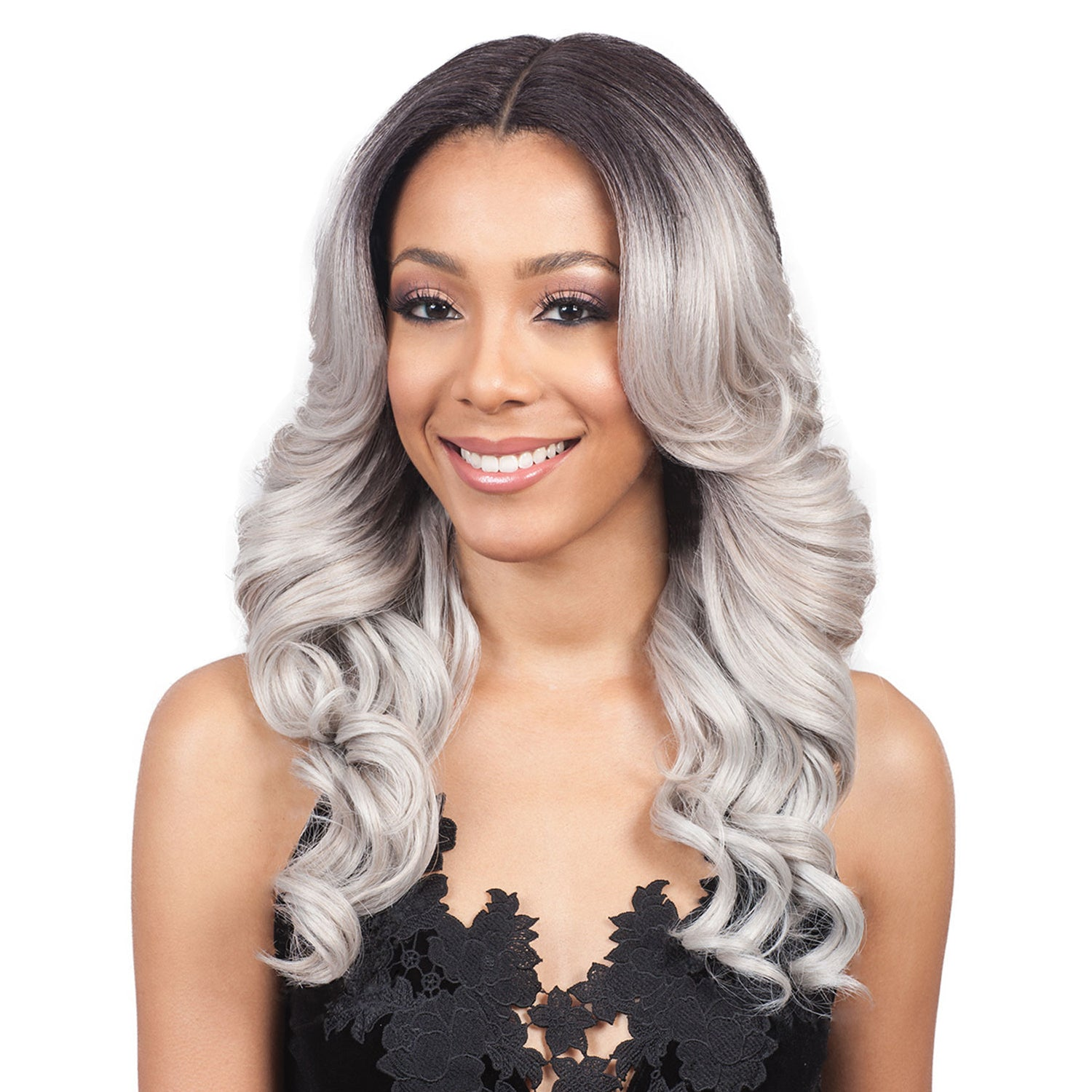 Peruvian Hair Grey With Black Root Color Body wavy Lace Front Wig