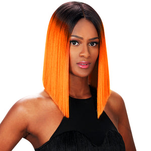 Peruvian Hair Orange With Black Root Color Straight Lace Front Bob Wig