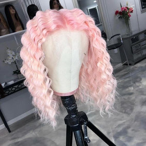 Peruvian Hair Light Pink Color Deep Wavy Lace Front Wig