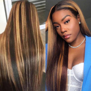 Peruvian Hair Ombre Color Black and Blond Straight Lace Front Wig