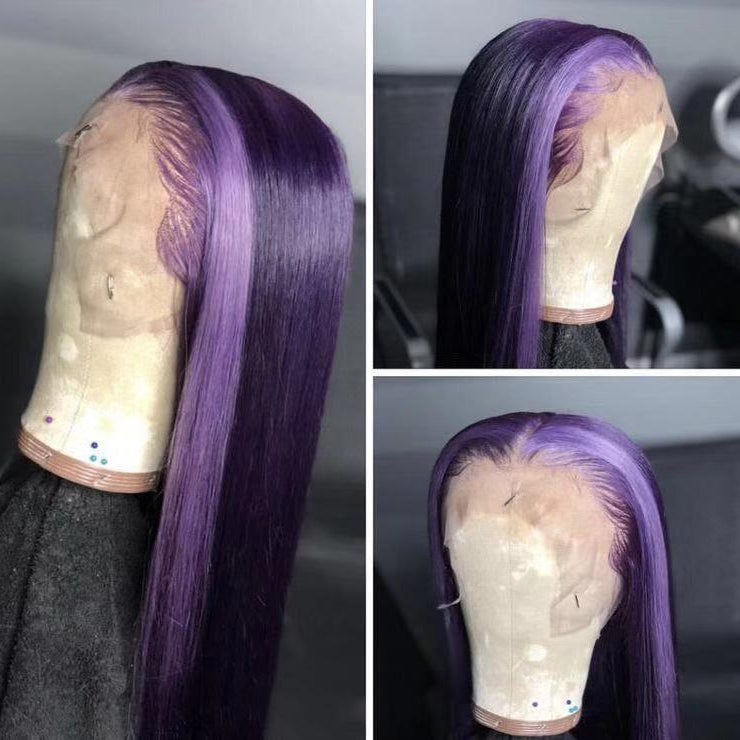 Peruvian Hair Dark Purple With Light Purple Color Lace Front wig