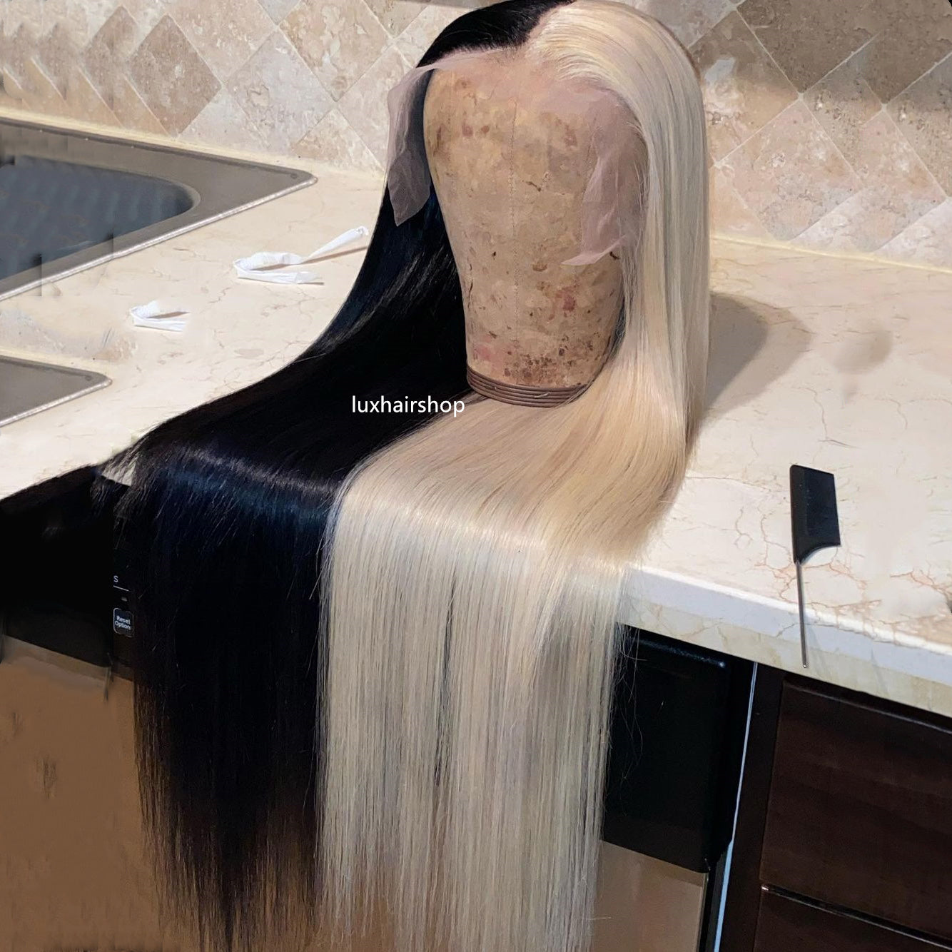 Half Iced Blond and Half Black Color