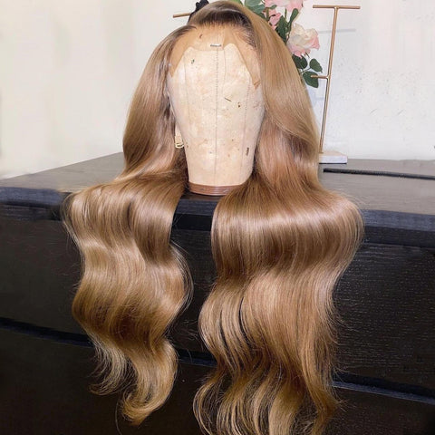 Peruvian Hair Dark Blond with Black Root Body Wavy 5*5 Transparent Lace Closure Wig