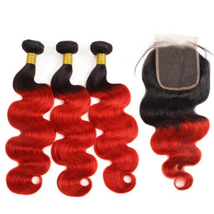 Peruvian Hair Three Weft With One Closure Body Wave red