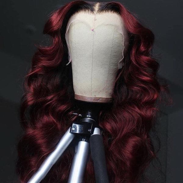 Burgundy With Black Root Color