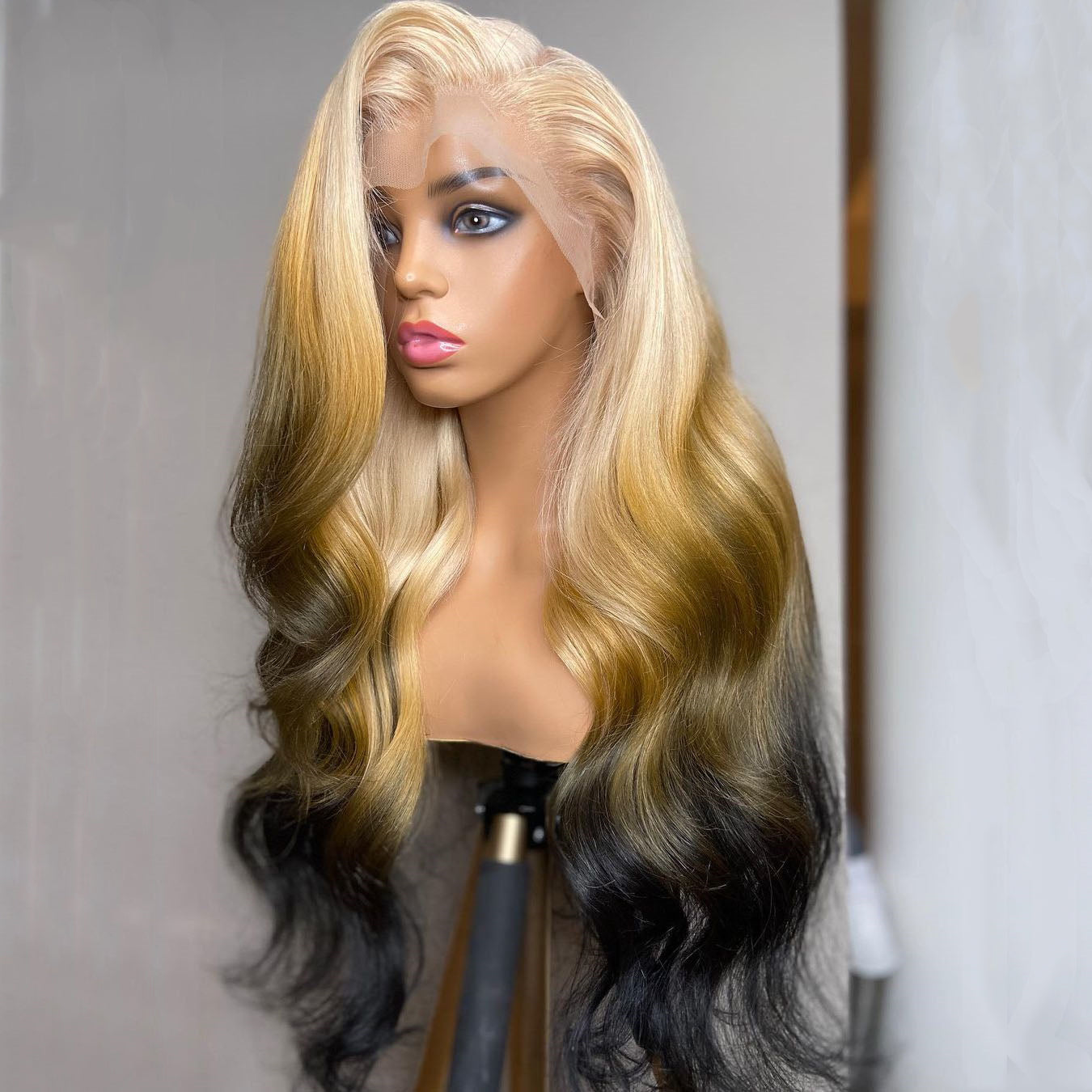 Gradient Blond and Yellow Brown with Black wig