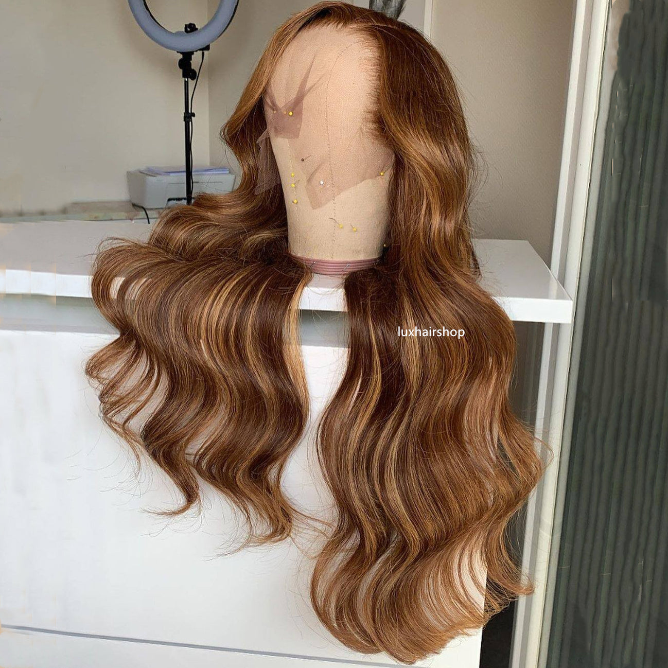 Peruvian Hair Fashion Brown Blond Ombre Color Body Wavy Lace Front Wig