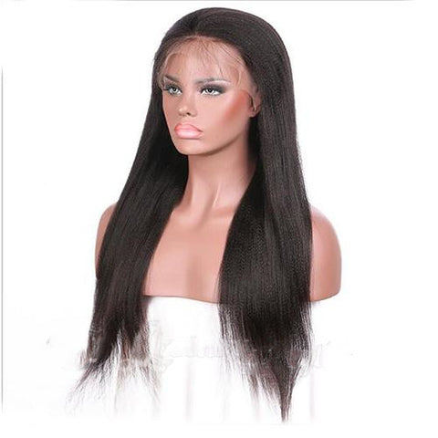Brazilian Human Hair Black Color Yaki Lace Front Wig