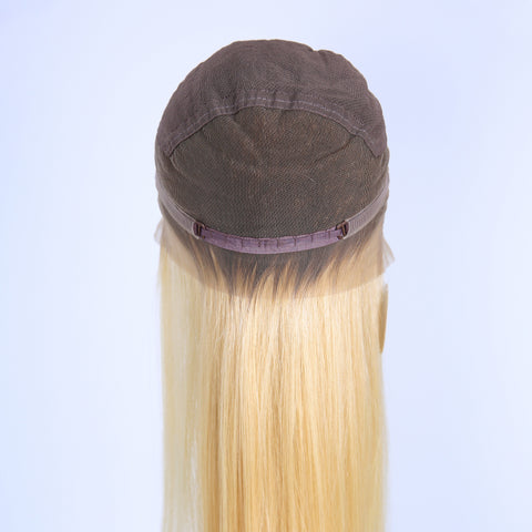 Peruvian Hair Light Blond With Brown Root Fashion Straight Full Lace Wig