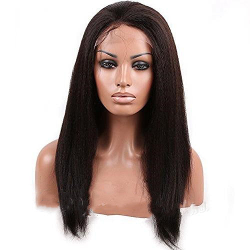 Brazilian Human Hair Black Color Kinky Lace Front Wig