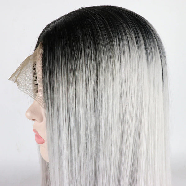 Silver With Black Root Color Straight Lace Front Wig
