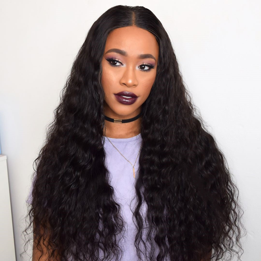 Peruvian Hair Natural Wavy Long Hair Lace Front Wig Black