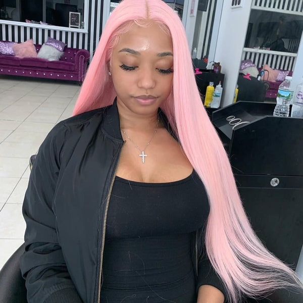 Peruvian Hair Light Pink Color Straight Lace Front wig