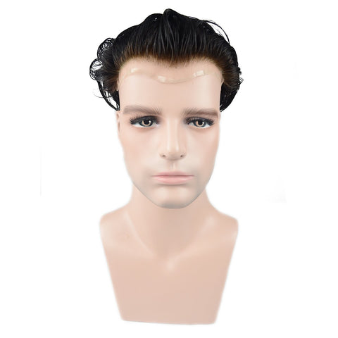European Virgin Human Hair Black Full Lace Base Man Toupee