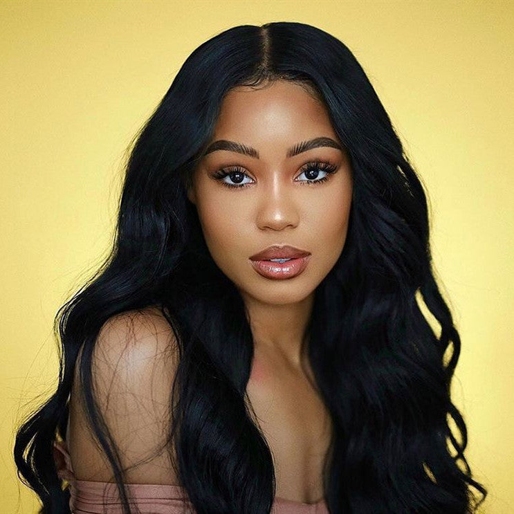 Brazilian Hair Black Color Fashion Body Wavy Long Hair Lace Front Wig