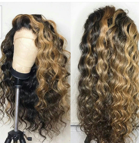 Peruvian Hair Long Loose Wavy Lace Front Wig Ombre Color