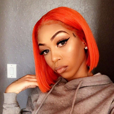 Peruvian Hair Orange Color Straight Lace Front Bob Wig