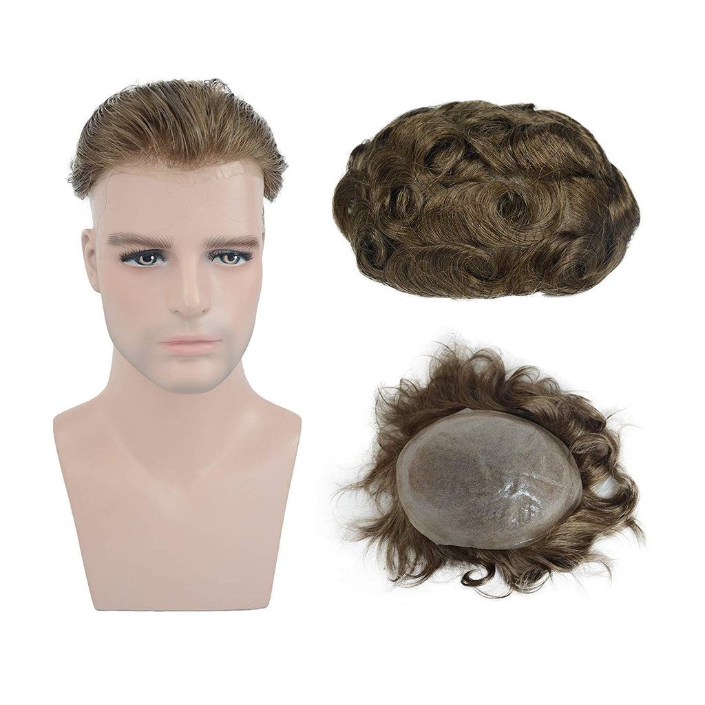European Virgin Human Hair Light Blond Thin Skin Base Man Toupee V-LOOP