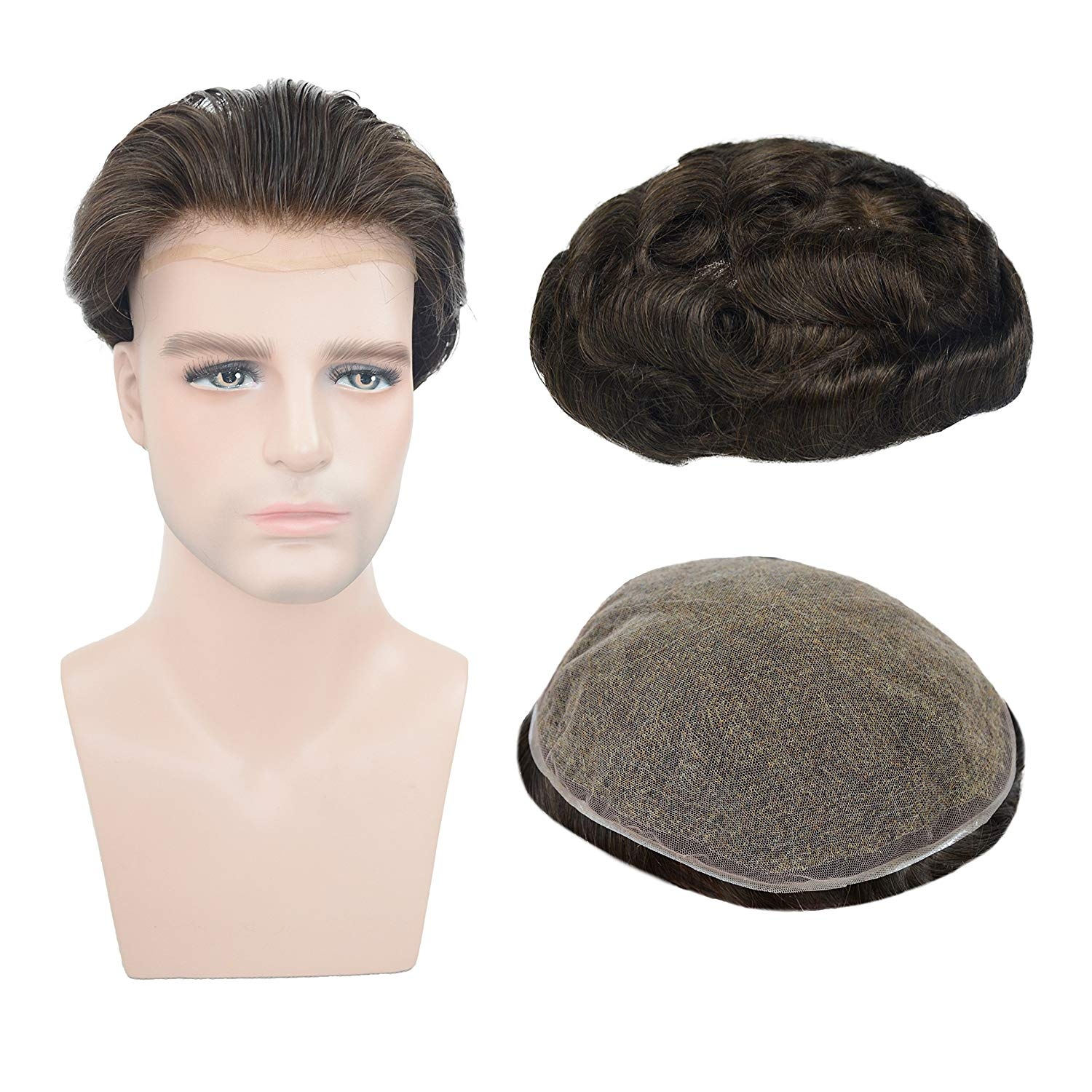 European Virgin Human Hair Dark Brown Full Lace Base Man Toupee