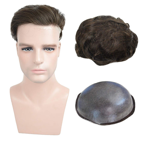European Virgin Human Hair Brown Thin Skin Base Man Toupee V-LOOP