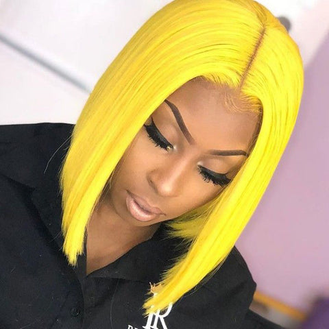 Peruvian Hair Yellow Color Straight Lace Front Bob Wig