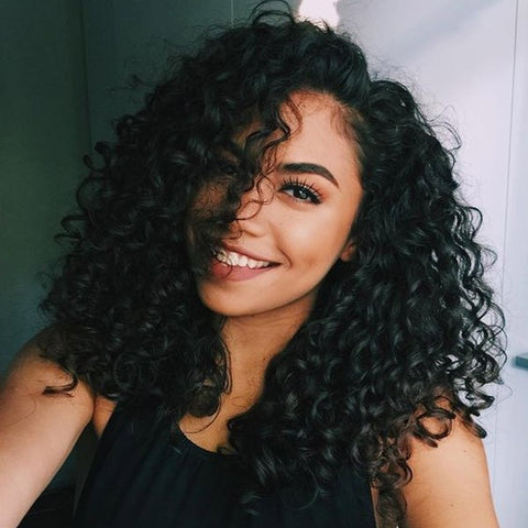 Brazilian Hair Black Color Curly Short Hair Fashion Lace Front Wig