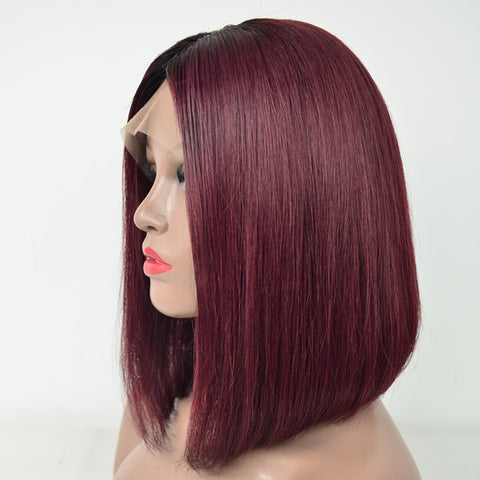 Peruvian Hair Straight Lace Front Bob Wig Burgundy With Root Black Color