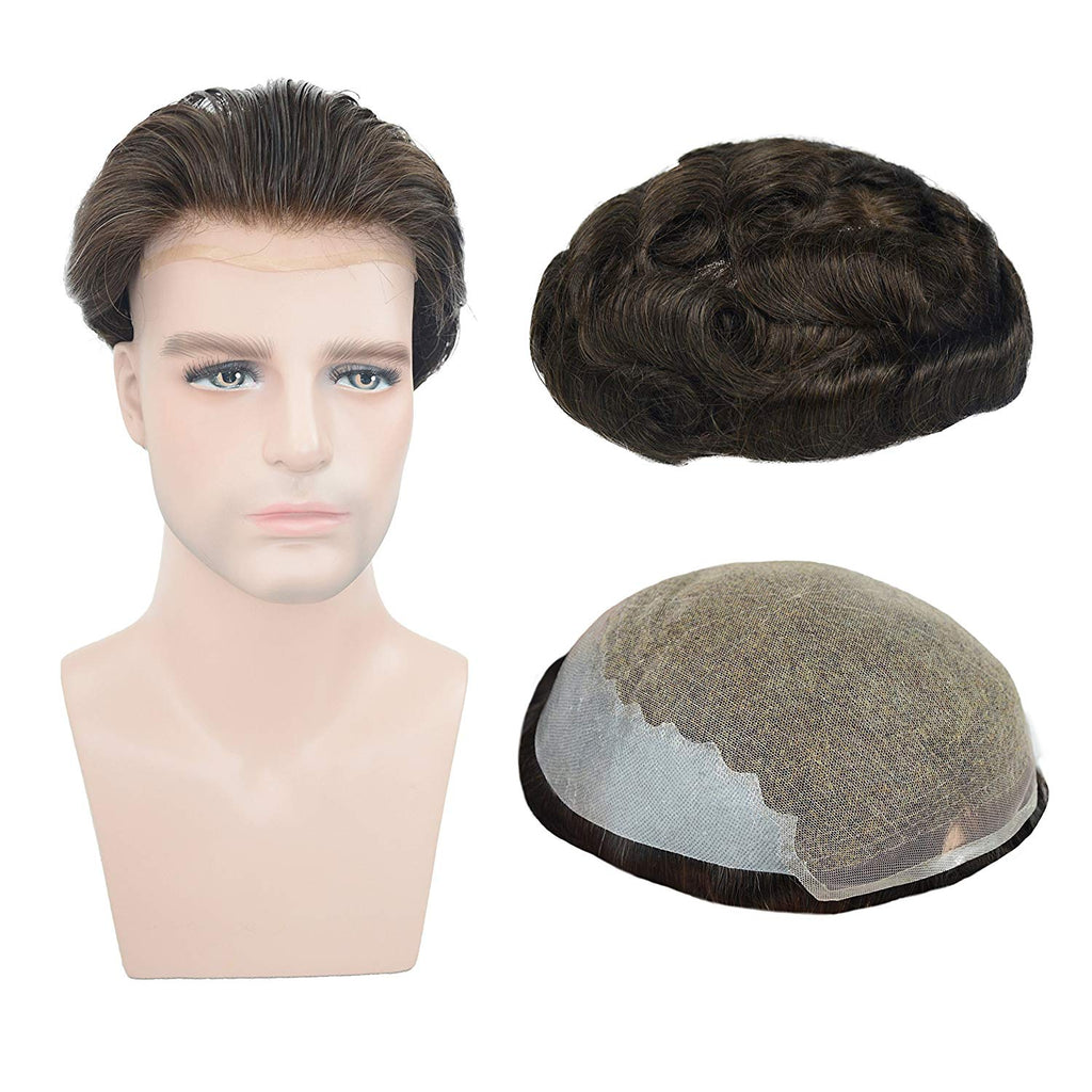 European Virgin Human Hair Dark Brown Man Toupee Soft French Lace with 2 inch clearly PU in Back