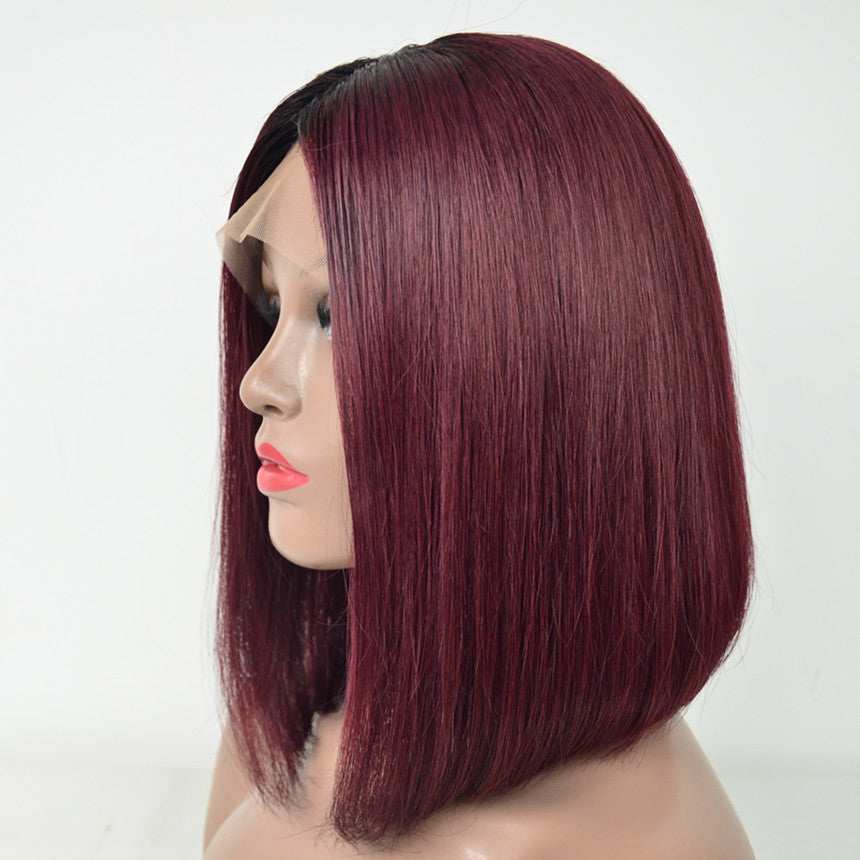 Brazilian Hair Burgundy With Black Root Color Straight Lace Front Bob Wig