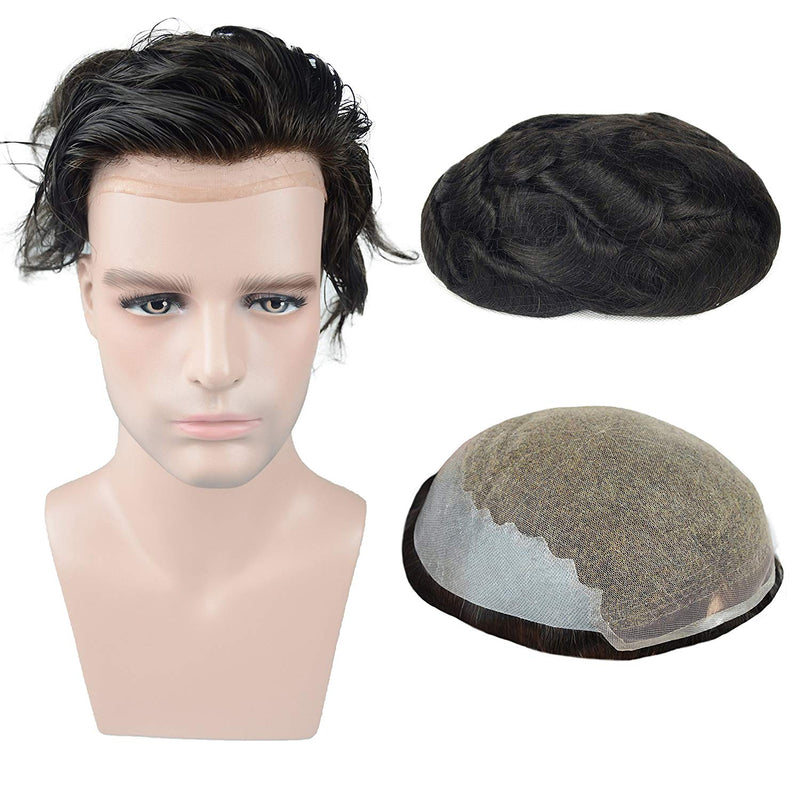 European Virgin Human Hair Natural Black Man Toupee Soft French Lace with 2 inch clearly PU in Back