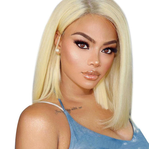 Peruvian Hair Light Blond Color Straight Lace Front Bob Wig