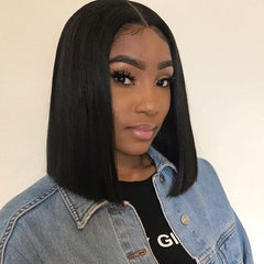 Peruvian Hair Natural Color Lace Front Bob Wig Straight