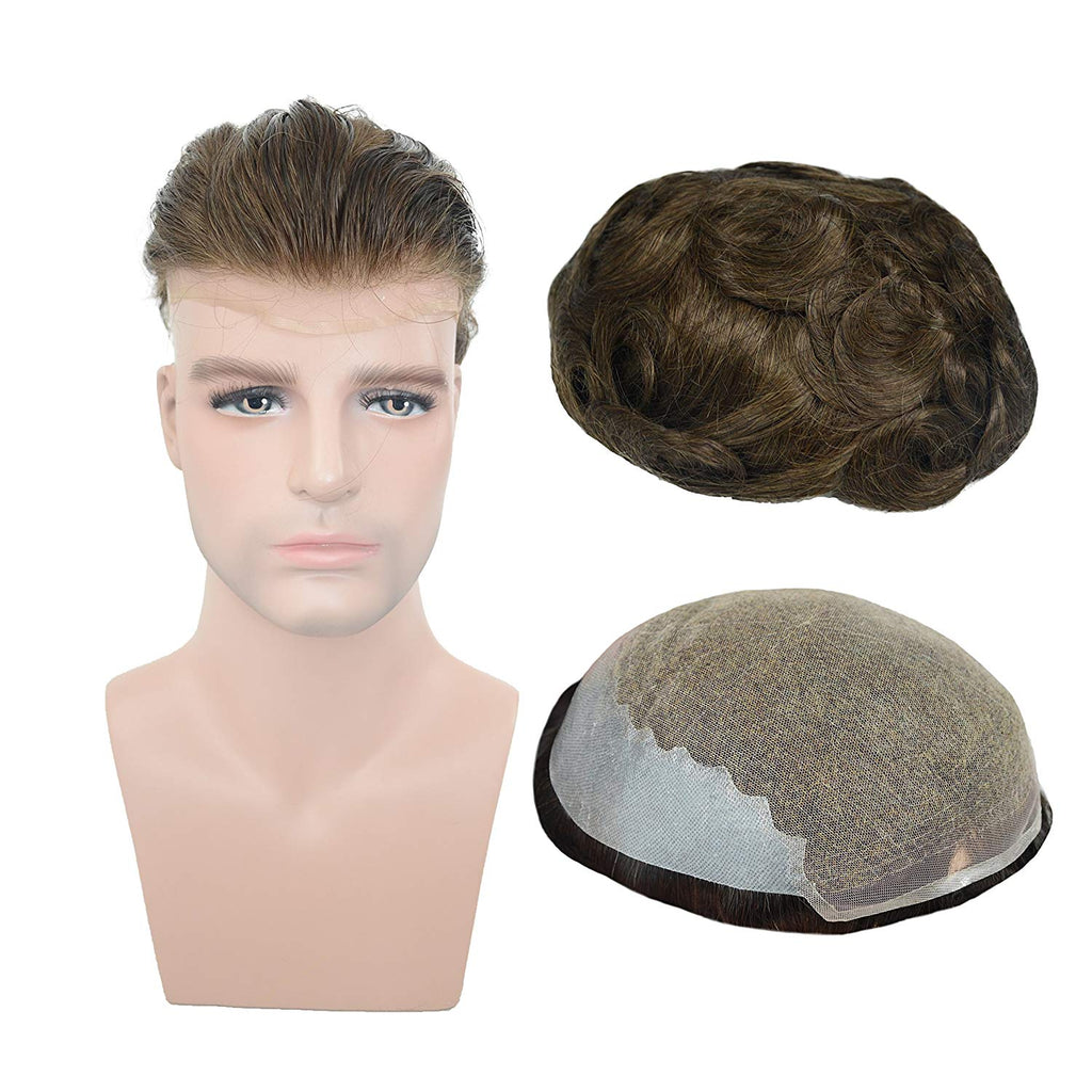European Virgin Human Hair Light Brown Man Toupee Soft French Lace with 2 inch clearly PU in Back
