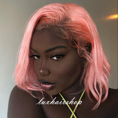 Aicha Peruvian Hair Light Pink Color Straight Lace Front Bob Wig