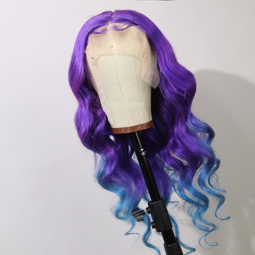 Peruvian Hair Gradient Color Purple With Light Blue Body Wave Lace Front Wig