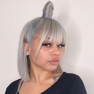 Peruvian Hair Silver Color Straight Lace Front Bob Wig With Bangs