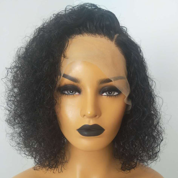 Peruvian Hair Curly Short Hair Lace Front Wig Natural Color