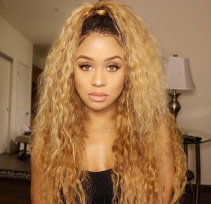 Peruvian Hair Blond With Black Root Color Fashion Lace Front Wig Curly
