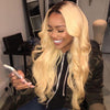 Image of Peruvian Hair Blond With Black Root Color Body wavy Full Lace Wig