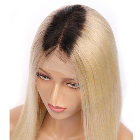 Peruvian Hair Light Blond With Black Root Straight Lace Front Bob Wig