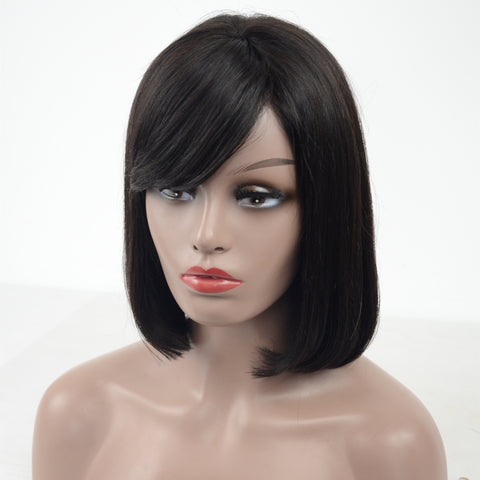 Peruvian Hair Black Color Straight With Bangs Lace Front Bob Wig