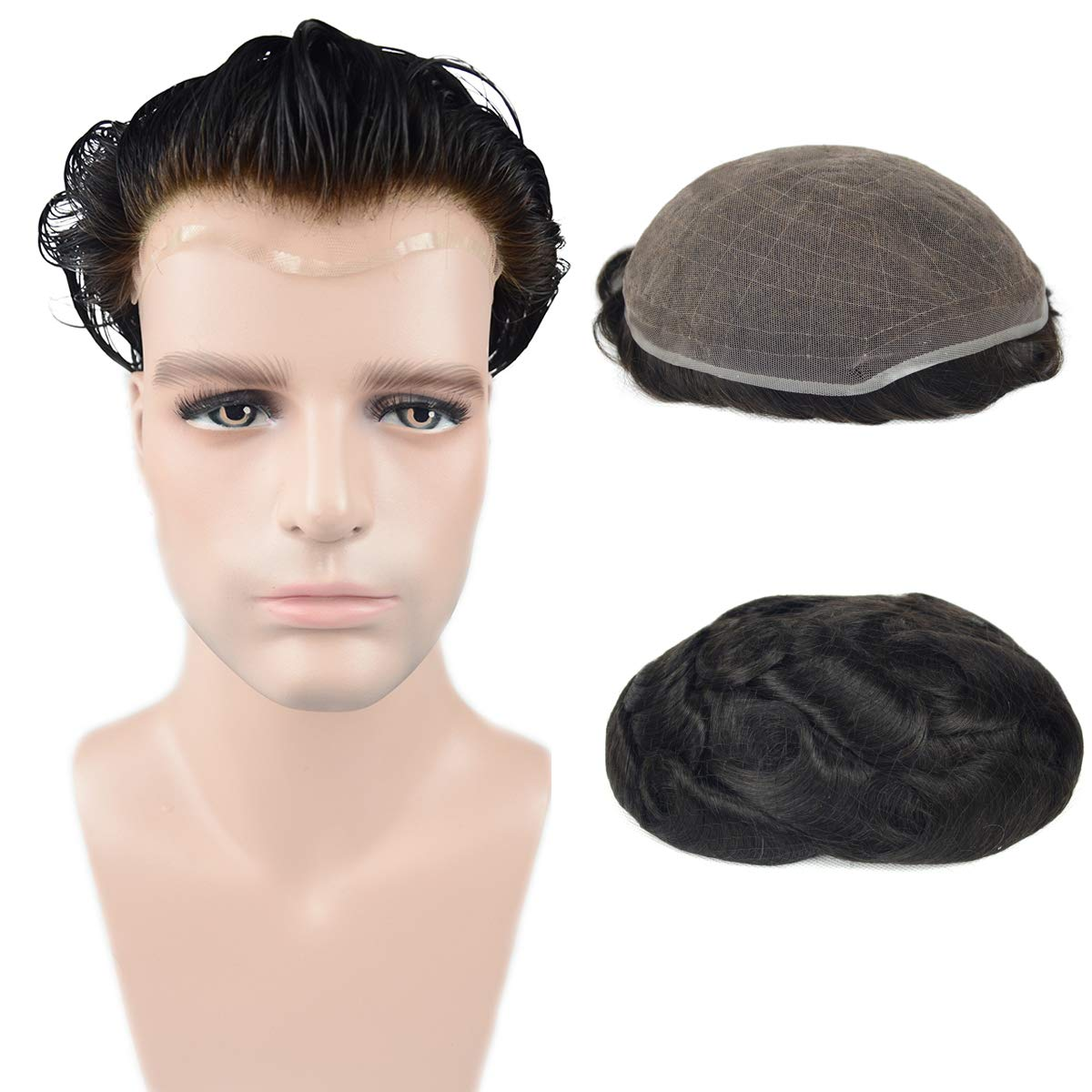 European Virgin Human Hair Natural Black Full Lace Base Man Toupee