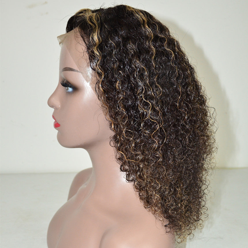 Peruvian Hair Curly Lace Front Wig Natural Color Mix Blond