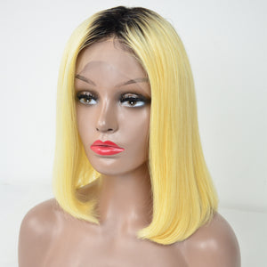 Peruvian Hair Straight Lace Front Bob Wig Blond With Black Root Color