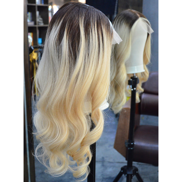 Peruvian Hair Blond With Black Root Color Body wavy Full Lace Wig