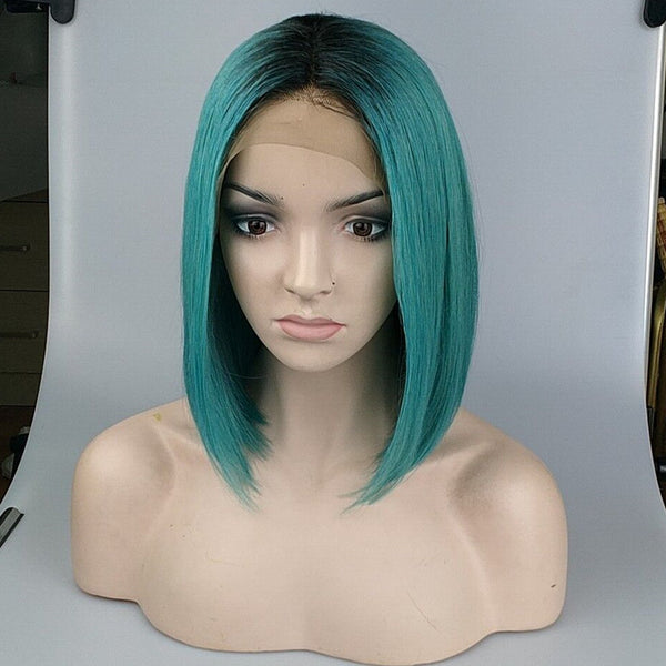 Peruvian Hair Blue Green With Black Root Straight Lace Front Bob Wig