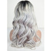 Image of Peruvian Hair Grey With Black Root Color Body wavy Full Lace Wig